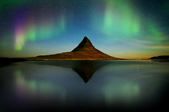 Aurora (Francesco Russo 63) Tags: travel sky mountain snow ice night reflections stars landscape iceland north kirkjufell auroraborealis