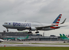 AA one world N343AN (planecrazypeter) Tags: dublin inflight landing american boeing americanairlines dub b767 eidw n343an b767323 oneworldlivery newamericanlivery