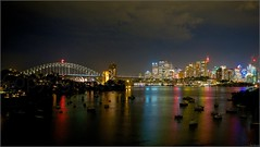 """City Night Lights"" Waverton, Sydney, Australia (February 2015) (Kommie) Tags: bridge night harbour tripod sydney australia r fujifilm fujinon f4 ois waverton xt1 1024mm"