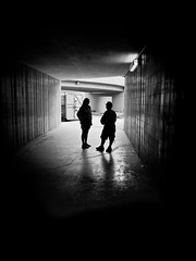 Subway Shadows (creativegaz) Tags: light shadow people urban blackandwhite bw black silhouette dark person mono noir mood moody prague perspective shapes olympus figure bnw nocolour