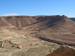 The Desolate Desert Hillside in Southern Tunisia