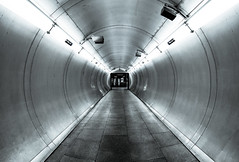 Syringe - Bermondsey Underground London by Simon & His Camera (On Explore 14th Jun 2016) (Simon & His Camera) Tags: city urban abstract london monochrome lines metal architecture silver circle underground tube tunnel indoor symmetry fisheye explore rings round passage abstracy simonandhiscamera