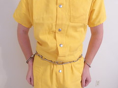 Yellow Inmate Jumpsuit (boblaly) Tags: yellow inmate uniform belly chain jumpsuit prison prisoner detention arrested arrest handcuffs handcuffed restrained restraints padlock locked secure