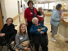 Wanda and Laura meet with some nursing home residents to brighten their Valentine's Day.