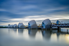 Thames Barrier - High Tide (On Holidays :o)) Tags: thames barrier london flood protection high tide morning sunrise sky clouds soft graduated neutral density lee nikon d800 1835mm photo walk river