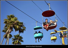 Santa Cruz Beach Boardwalk - California (Helene Iracane) Tags: santa cruz california californie beach boardwalk usa palmiers palm trees sunny summer t ciel sky blue bleu cable holiday vacances vacation vacations colour colours color colors colorful