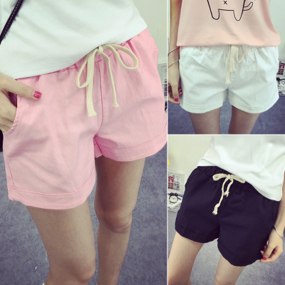 Summer new 2016-Korean version of easy thin elastic waist shorts Joker casual cotton linen wide leg pants women