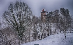 Fortress Dubovac on the snow (malioli) Tags: snow tower castle heritage canon landscape fort croatia snowing fortress hdr cro hrvatska karlovac dubovac