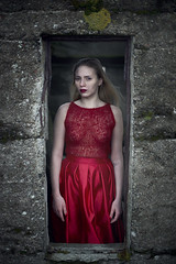 ... with a heart so vunerable (Lydia_Hansen) Tags: winter red portrait house snow nature fashion lady design model loneliness dress makeup clothes faroeislands vunerability