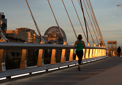 Golden (Joe Richland) Tags: california park bridge night sandiego pedestrian places petco harbordrive lightweather