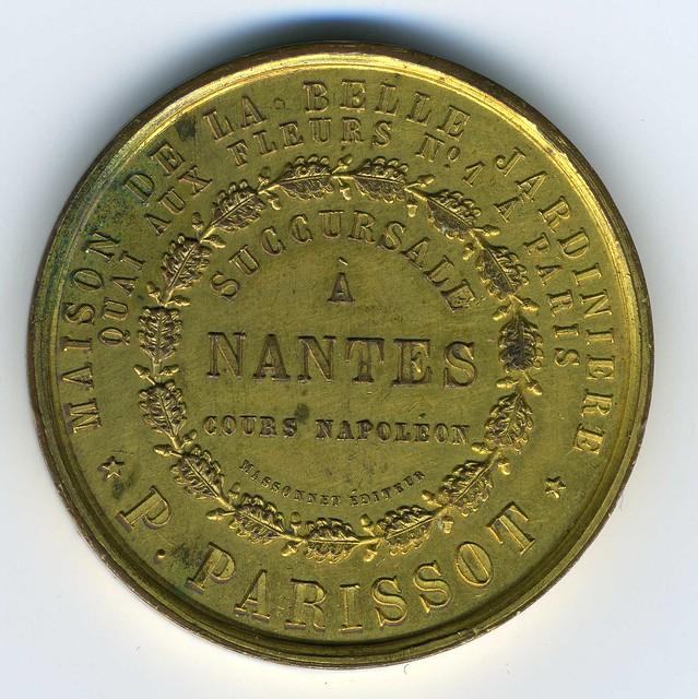 Nantes, médaille de la Belle Jardinière, vers 1856 revers (photo : Gildas Salaün)