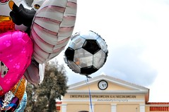 One must fly! (dimitra_milaiou) Tags: life roof light sky people color clock architecture reflections balloons festive square greek happy photography fly nikon europe day d live happiness event carnaval celebrate 90 chora andros dimitra 2015 d90     milaiou