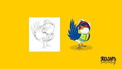 Bird Police - Sketch to Vector Timelapse (Krita and Inkscape) by ridjam (ridjam) Tags: blue bird animal design sketch graphic character cartoon vector tutorial inkscape krita