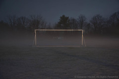 Ghostly Game (cybersooz) Tags: playground fog night foggy eerie soccerfield 2015