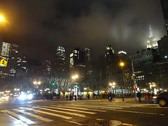 Foggy City at Night (lefeber) Tags: street city nyc newyorkcity urban mist newyork fog architecture night clouds buildings lights haze downtown nightlights skyscrapers streetlights empirestatebuilding artdeco crosswalk