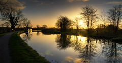Morning Reflections.. (Philip R Jones) Tags: light sunrise boats boat canal path hdr narrowboat daybreak middlewich goldenlight shropshireunion subtlehdr middlewichcheshire