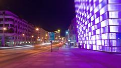 a night in Linz (Tomsch) Tags: street longexposure linz lights austria sterreich nightshot strasse tram obersterreich lichter bim langzeitbelichtung aec upperaustria arselectronicacenter urfahr strasenbahn