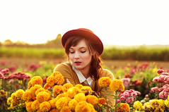 *** (caras.muffin) Tags: flowers sunset portrait orange woman sunlight color girl beautiful yellow vintage 50mm pentax creative retro selftaught romantic