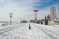Icy Boardwalk (BB ON) Tags: city nyc newyorkcity carnival winter urban snow ny newyork water coneyisland atlantic boardwalk amusementpark themepark