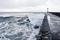 Tempête, Écume, digue. (sam.debiesse) Tags: light sea mer storm water landscape brittany eau wave bretagne lumiere contraste vague bzh froth tempête écume audierne