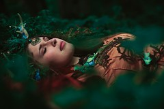 the green dream (Kindra Nikole) Tags: trees woman tree green girl beautiful forest moss spirit path calm fairy rest serene mossy firefly maiden glade faun fae soothe glend