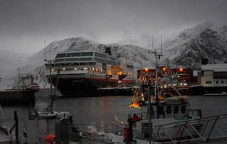 The coastal express at harbor in Honningsvag by North Cape, Norway arctic