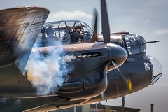 Lancaster engine start. (deltic17) Tags: history rollsroyce lincolnshire merlin lancaster ww2 raf avrolancaster lancasterbomber bombercommand rafconingsby bombercounty