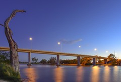 The George Chaffey Bridge (phunnyfotos) Tags: phunnyfotos australia newsouthwales nsw buronga mildura murrayriver river bridge concrete night bluehour dusk twilight evening nikon d750 nikond750 deadtree riverbank lights highway sturthighway sturthwy reflections reflection windy