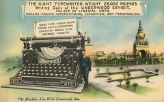 The Giant Underwood Typewriter at the Panama-Pacific Exposition, 1915 (Alan Mays) Tags: ephemera postcards advertisingpostcards talltalepostcards advertising advertisements ads paper printed underwoodtypewritercompany underwood underwoodtypewriter companies manufacturers typewriters typists typing machines men keys keyboards palaceofliberalarts courtoftheuniverse panamapacificexposition worldsfairs fairs expositions expos exhibits buildings prizes awards honors talltales exaggerations oversized giant fantasy humor humorous funny comic illustrations logos slogans blue green sanfrancisco ca calif california 1915 1910s antique old vintage typefaces type typography fonts