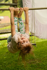 W i l d C h i l d (VeeePhotoJourney) Tags: children kids girl summer garden nikon 7100 portrait gym upside down good mood green outside italy weather warm