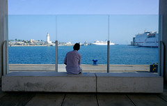 Clearly Now (PM Kelly) Tags: street mlaga malaga spain view marina harbor glass alone myself sit pier espaa