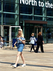 Heading North (marbowd37) Tags: streetphotography salfordquays salford street mediacity people girl