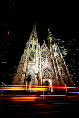 Spirits on 5th (pt. 2) (duncan_mclean) Tags: longexposure neon 5thavenue cathedral church newyork newyorkcity glow le night nightphotography headlights taillights light