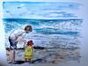Watching the Waves (lindsayannecook) Tags: art watercolour daddydaughter beach waves lindsaycook