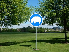 Sheep on a Sign (mikecogh) Tags: park dublin signs museumofmodernart curious