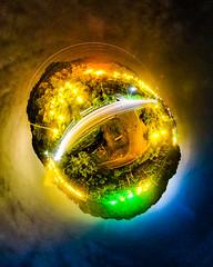 PhoTones Works #8010 (TAKUMA KIMURA) Tags: photones ricoh theta s takuma kimura   landscape scenery natural peach groves japan night view akaiwa okayama light universe stars planets