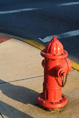 Fire Hydrant (jrbutler90) Tags: photography nikon d200 kodachrome red yellow white sidewalk fire hydrant sunrise morning walking around
