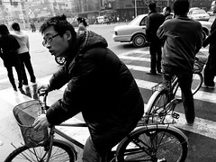 waiting to cross (-{ ThusOriginal }-) Tags: 2009 bw bike blackandwhite china city digital grd3 grdiii man monochrome nanjing people ricoh street thusihaveseen winter zebracrossing