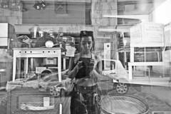 () Tags: portrait self girl female window reflection figure face body outdoor street city urban bw blackandwhite monochrome fuji fujix70 car greece young digital
