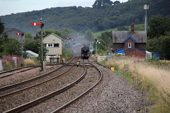 "Collett GWR Castle Class 4-6-0 7P No. 5043 ""Earl of Mount Edgcumbe"" coasts through Craven Arms Station 5' early with Vintage Trains  1Z46 ""The Welsh Marches Express"" on 13th August 2016  (steamdriver12) Tags: collett gwr castle class 460 7p no 5043 earl mount edgcumbe craven arms vintage trains limited 1z46 the welsh marches express 13th august 2016 smoke steam oil coal heritage preservation main line shropshire"