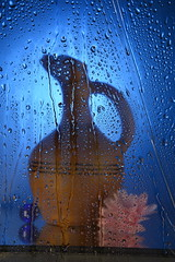 Through the glass (colourlessness.ss) Tags: water flower blue vase light glass eyedrops drops