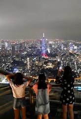 Three sisters in a roof,Tokyo Roppongi Hills (sapphire_rouge) Tags:   sculpture  darkness   girl night tokyotower japanese yukata tokyo   nightview roppongi shinjuku  japan  nighview illumination lady