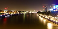 Late Night Thameside Adventures pt.1 - Waterloo Bridge (calumccampbell) Tags: thames night evening blue hour late river reflection reflections bridge bridges city bank banks light lights water london londres waterloo westminster long exposure longexposure wide angle wideangle canon 1022 1022mm midnight