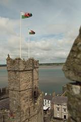 Caernarfon Castle with Fluttering Flags (Neyol) Tags: caernarfon castle north wales flag flutter stone walls coast seaside landscape sand beach green white red fragon clouds sky