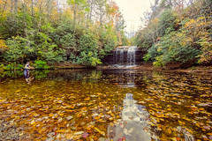 Schoolhouse Falls (agasfer) Tags: 2016 northcarolina panthertownvalley autumn hiking appalachia foliage pentax k3 sigma1020 topaz restyle flyfishing waterfalls
