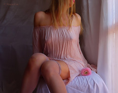Portrait with Pink Flower ... (MargoLuc) Tags: pink morning poetic expression dreamy mood me self portrait girl woman silk dress romantic feeling light natural window blond hair red lips soft emotions artisawoman