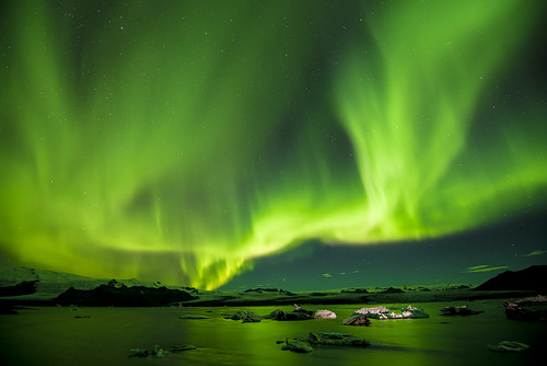 Jökulsárlón Glacier Lagoon Aurora Borealis Iceland 10/2016
