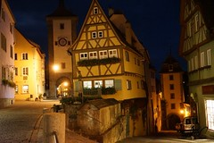 Town Gate at night (Nancleve) Tags: germany rothenburg vacation walls walledcity halftimbered houses buildings gates
