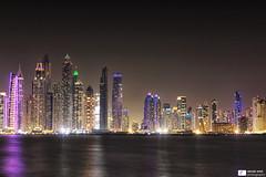 Dubai Marina (Daniel Wildi Photography) Tags: dubai marina thepalmjumeirah uae unitedarabemirates skyline citylights night danielwildiphotography 2016 skyscrapers cityscape sea persiangulf longexposure tripod buildings architecture nightphotography