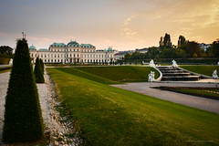 Sunset at Vienna's Belvedere (Nicholas Olesen Photography) Tags: vienna austria europe capital city garden palace history historic grass green sunset belvedere building architecture sky fountains path horizontal travel tourism nikon d7100